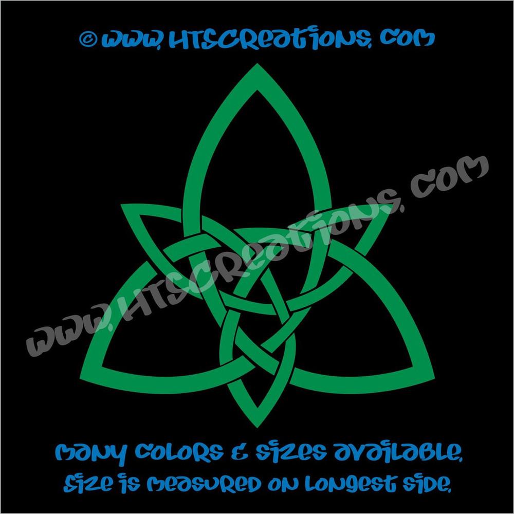 Celtic Trinity Knot Irish Dance Ireland Religious Church Triangle Solid Vinyl Decal KELLY GREEN