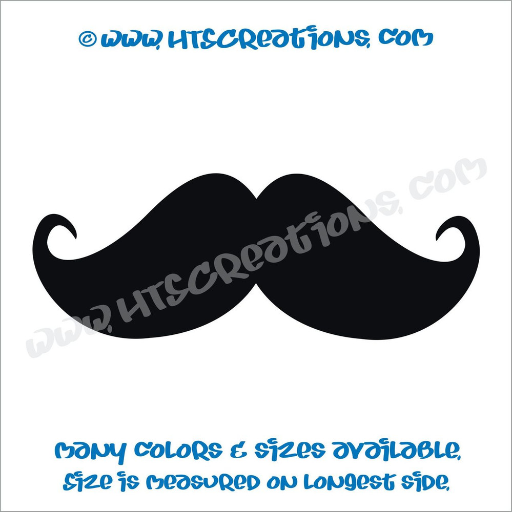 Mustache Full Curl Point Hippie Boho Car Truck Boat Vinyl Decal BLACK