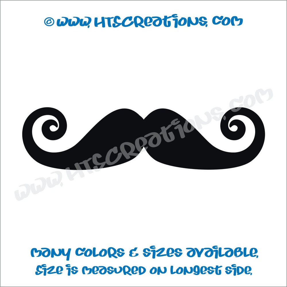 Mustache Curly Pointy Swirl Stache Hippie Boho Car Truck Boat Laptop Vinyl Decal BLACK
