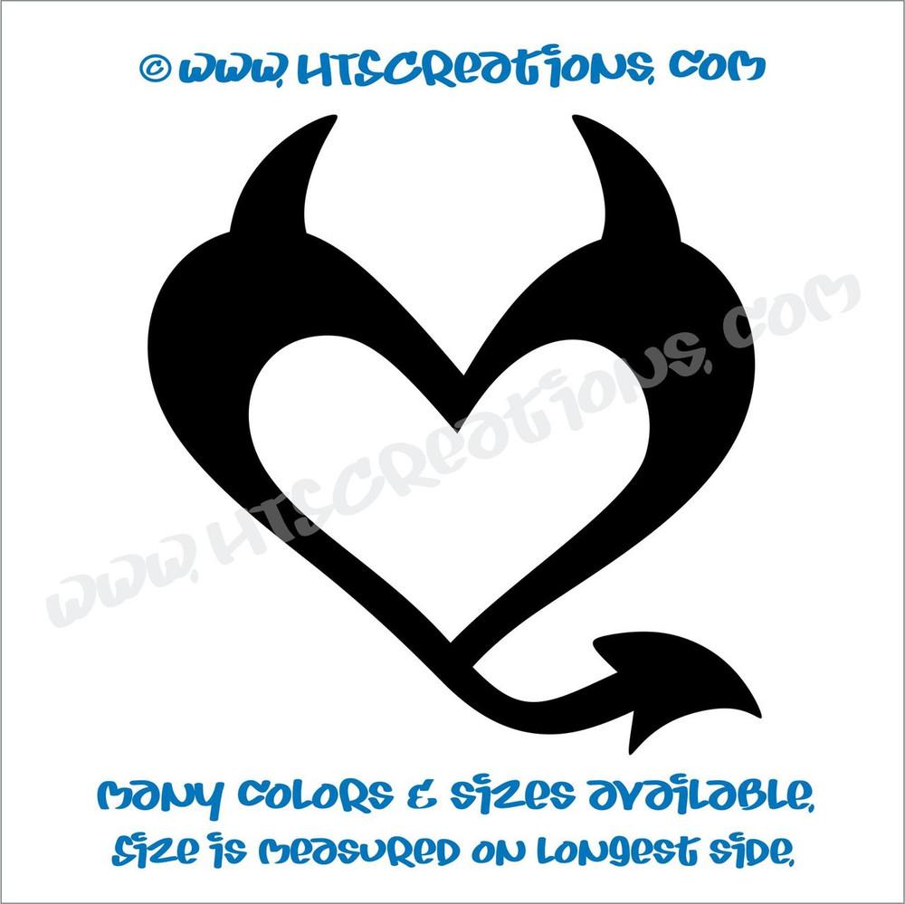 Devil Heart Horns Romance Friendship Sexy Love Car Truck Laptop Wall Vinyl Decal