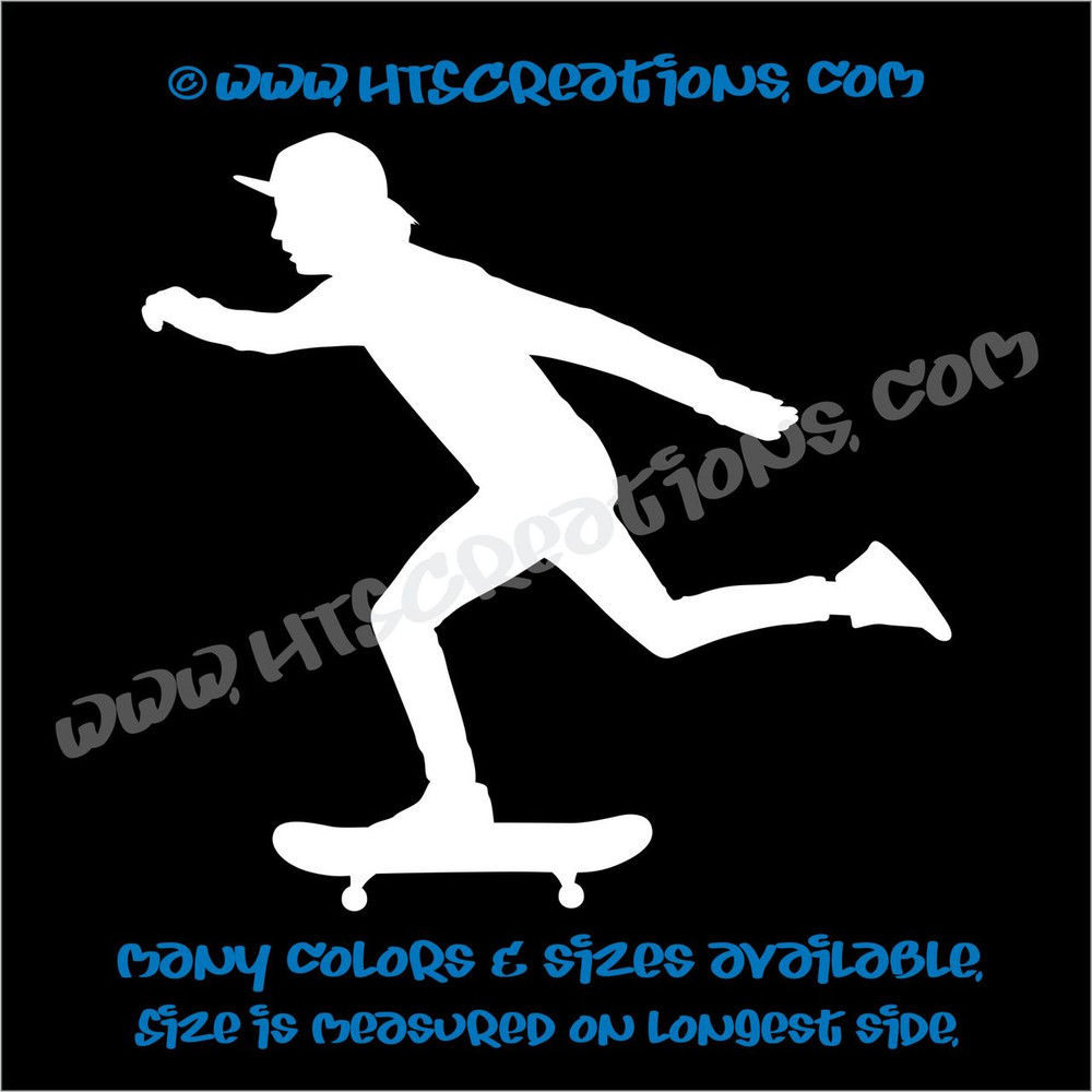 Skateboarder Skateboarding Car Truck Bumper Skateboard Laptop Wall Vinyl Decal WHITE