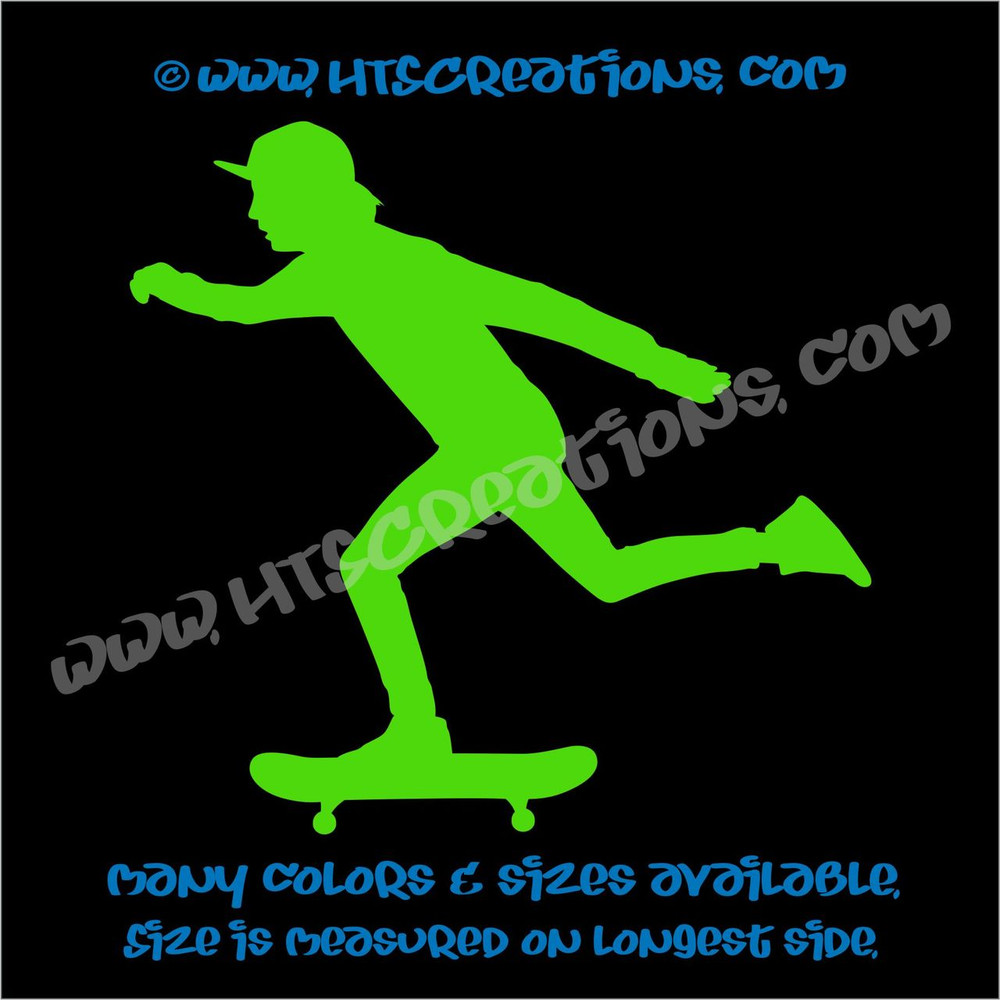 Skateboarder Skateboarding Car Truck Laptop Wall Vinyl Decal LIME GREEN