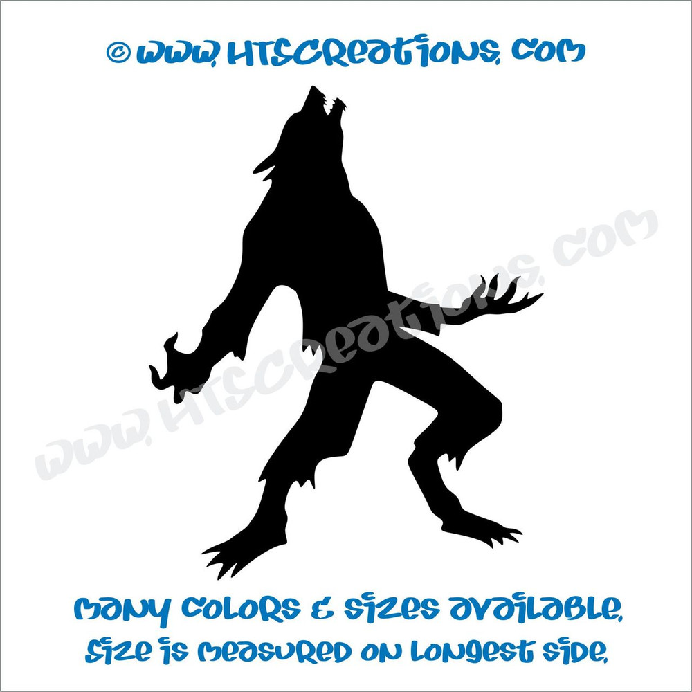 Werewolf Wolfman Folklore Dog Witch Hunt Vinyl Decal Truck Laptop Wall Tablet Vinyl Decal BLACK
