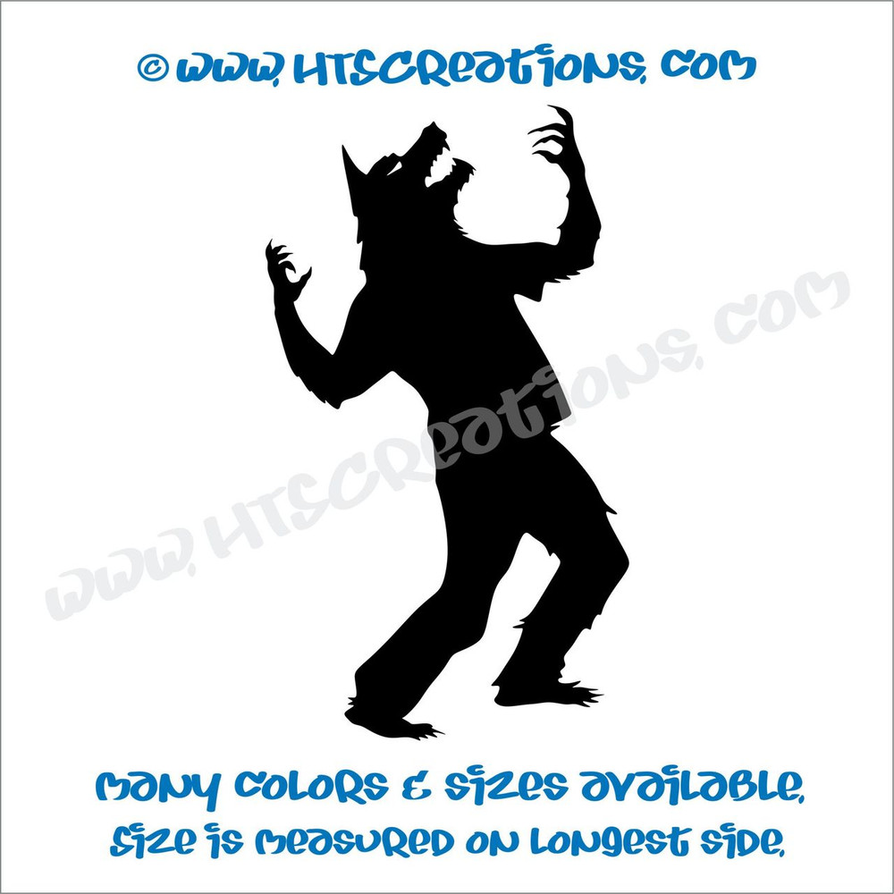 Werewolf Wolfman Howling Folklore Dog Witch Vinyl Decal Truck Laptop Wall Tablet Vinyl Decal BLACK