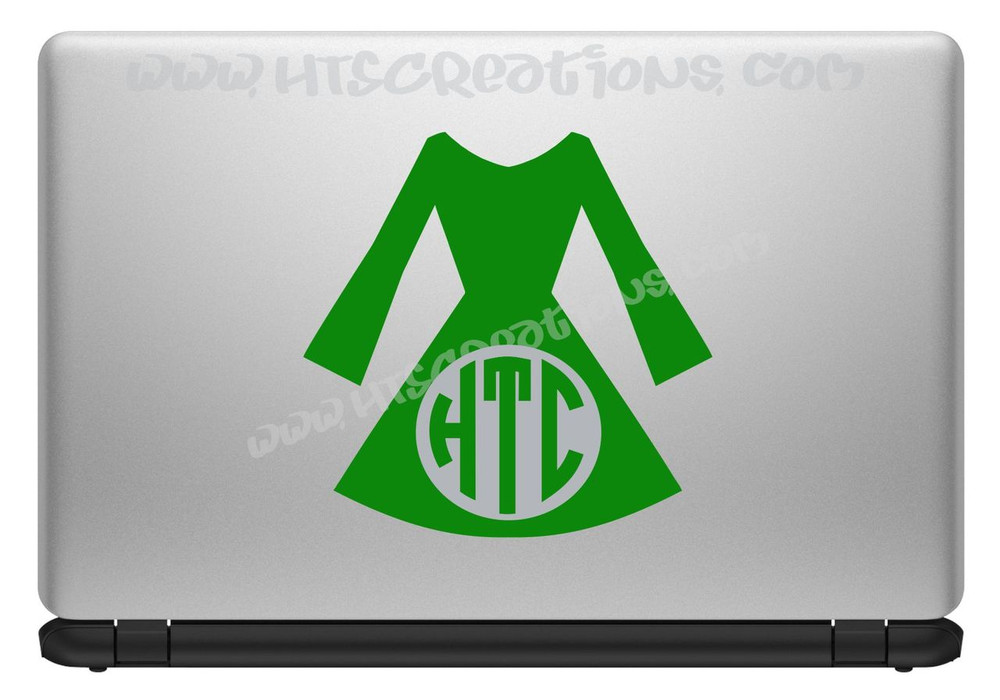 Irish Dancer Dress Ghillie Feis Monogram Vinyl Decal Laptop Car KELLY GREEN