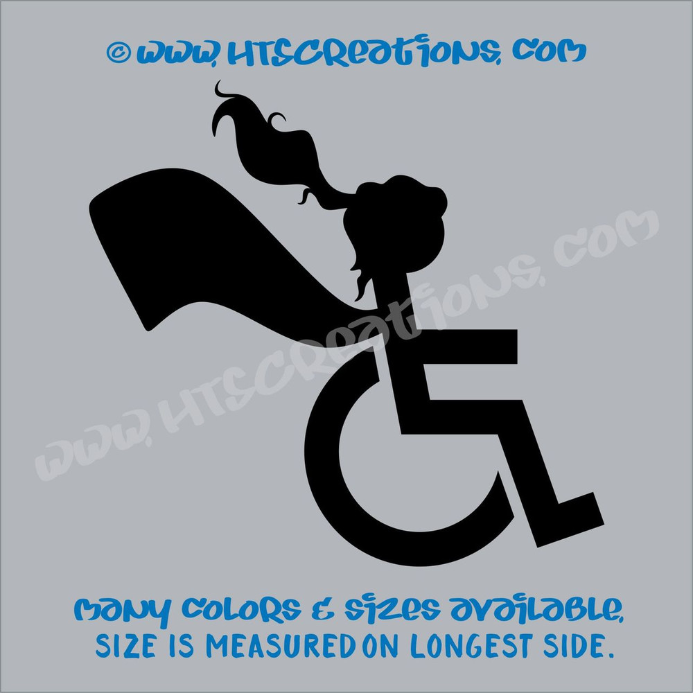 Wheelchair Handicap Super Hero Girl Special Needs Vinyl Decal Truck Laptop Tablet Vinyl DecalBLACK