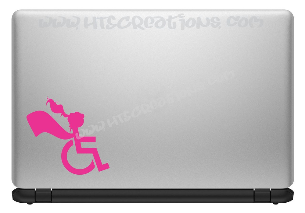 Wheelchair Handicap Super Hero Girl Special Needs Vinyl Decal Truck Laptop Tablet Vinyl Decal HOT PINK