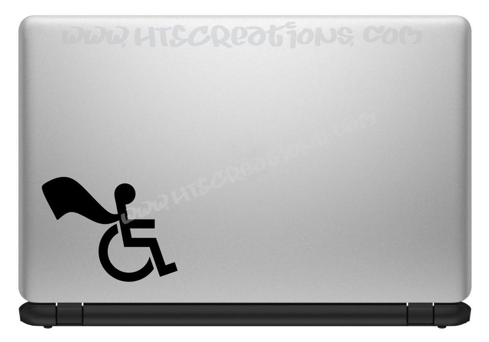 Wheelchair Handicap Super Hero Boy Special Needs Vinyl Decal Truck Laptop Tablet Vinyl Decal BLACK