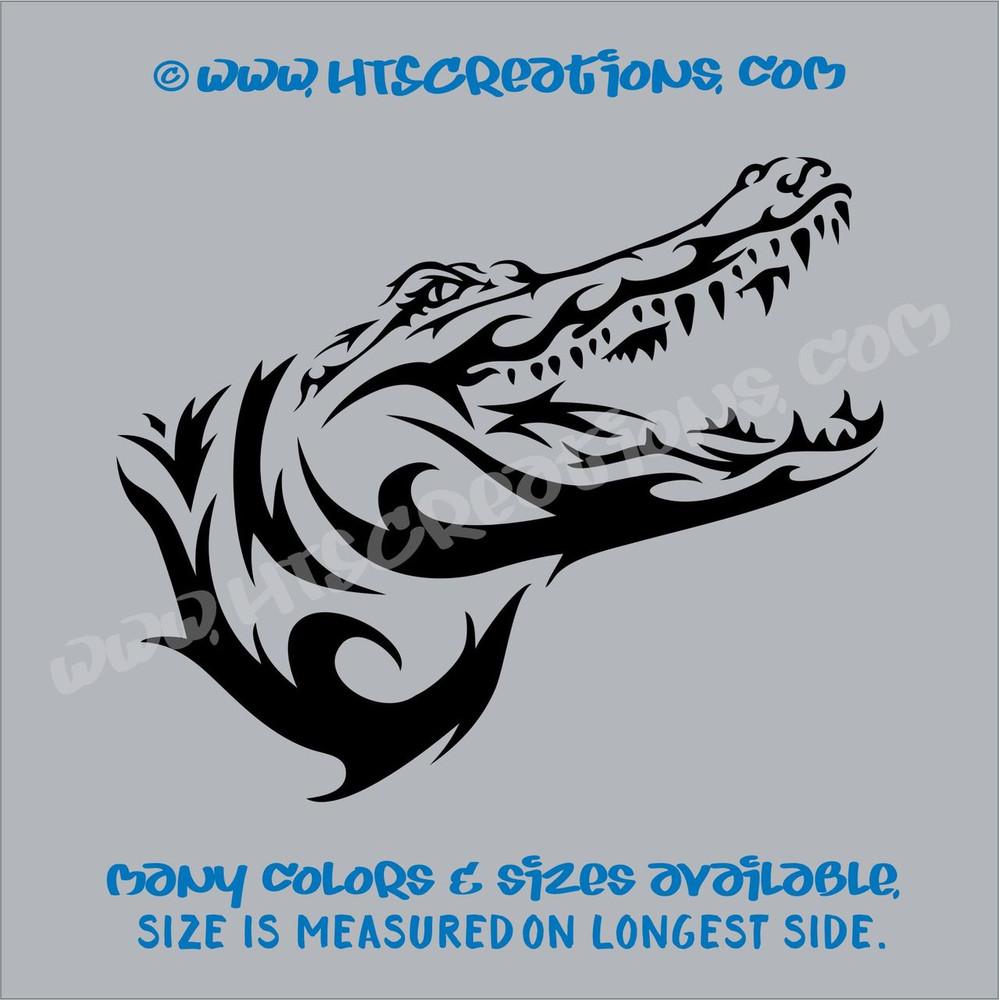 Alligator Crocodile Tribal Wildlife Hunting Vinyl Decal Laptop Car BLACK