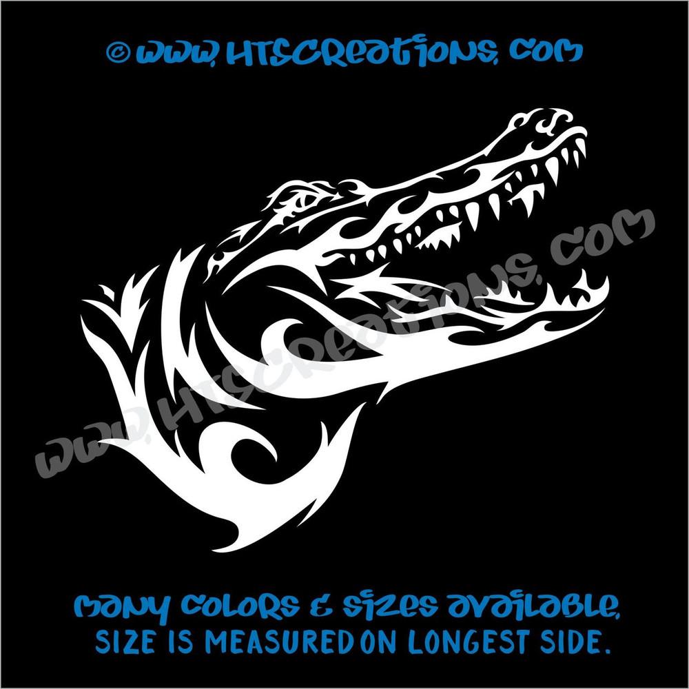 Alligator Crocodile Tribal Wildlife Hunting Vinyl Decal Laptop Car WHITE