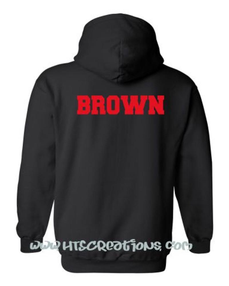 BACKSIDE HOODIE CUSTOM NAME Sweatshirt BLACK with RED Print