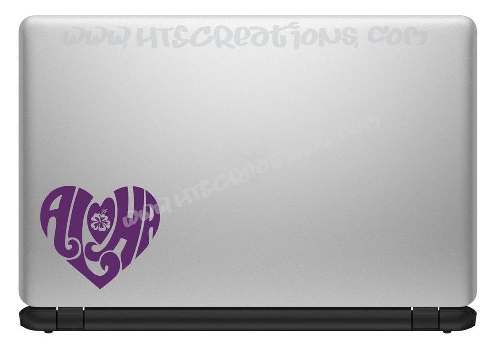 Aloha Heart Hawaii Hawaiian Floral Hibiscus Vinyl Decal Laptop Car Door Mirror Truck Vanity PURPLE