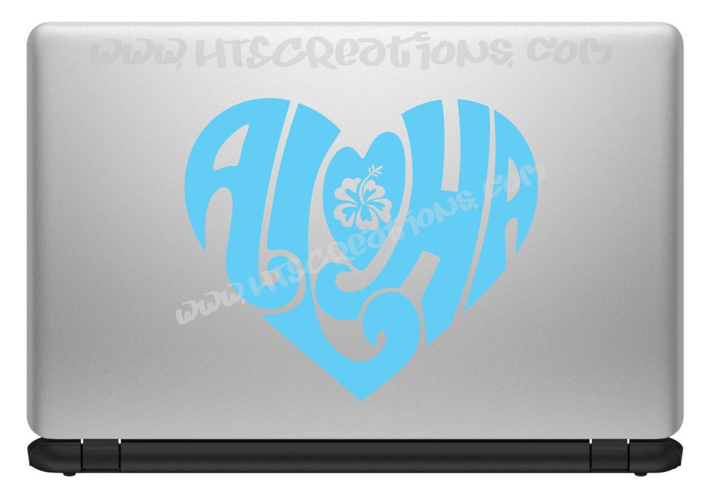 Aloha Heart Hawaii Hawaiian Floral Hibiscus Vinyl Decal Laptop Car Door Mirror Truck Vanity ICE BLUE