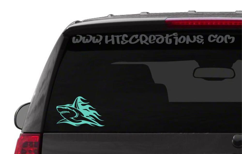 Shark Tribal Tattoo Hawaii Sea Life Vinyl Decal Laptop Car Door Mirror Truck Boat Vanity Toilet MINT GREEN