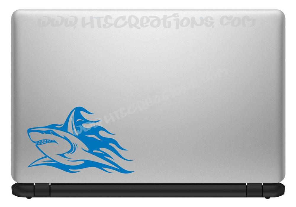 Shark Tribal Tattoo Hawaii Sea Life Vinyl Decal Laptop Car Door Mirror Truck Boat Vanity Toilet SKY BLUE