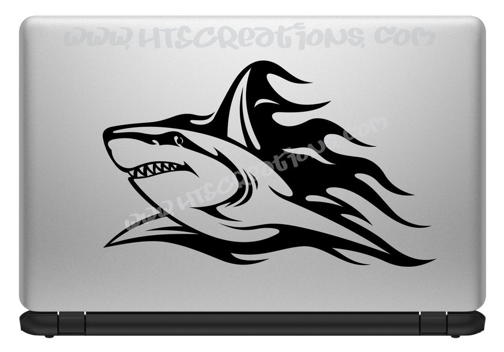 Shark Tribal Tattoo Hawaii Sea Life Vinyl Decal Laptop Car Door Mirror Truck Boat Vanity Toilet BLACK