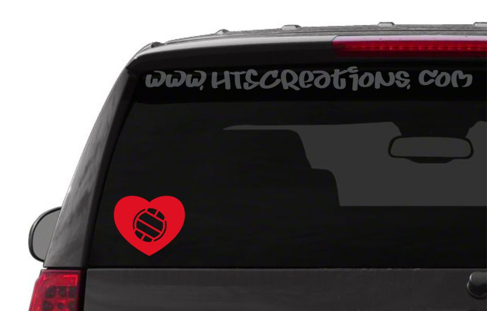 Volleyball Heart Love Sports Vinyl Decal Laptop Car Door Mirror Truck Vanity Boat RED