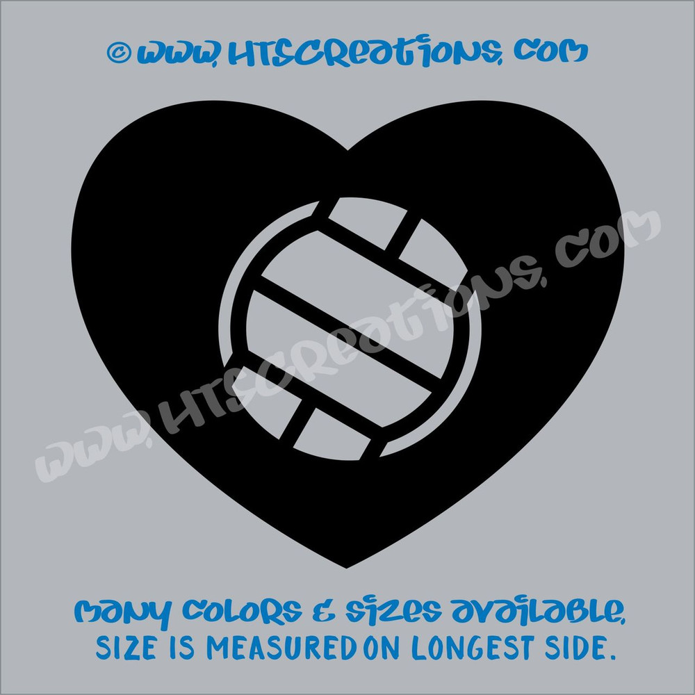 Volleyball Heart Love Sports Vinyl Decal Laptop Car Door Mirror Truck Vanity Boat BLACK