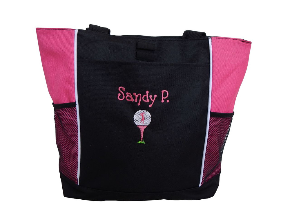 Lady Golfer Tee Golf Bag Golfing Personalized Embroidered Zippered HOT PINK Tote Bag FONT style DOTS