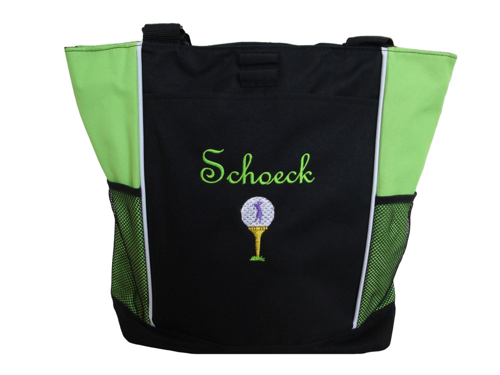 Lady Golfer Tee Golf Bag Golfing Personalized Embroidered Zippered LIME GREEN Tote Bag FONT style FRENCH SCRIPT