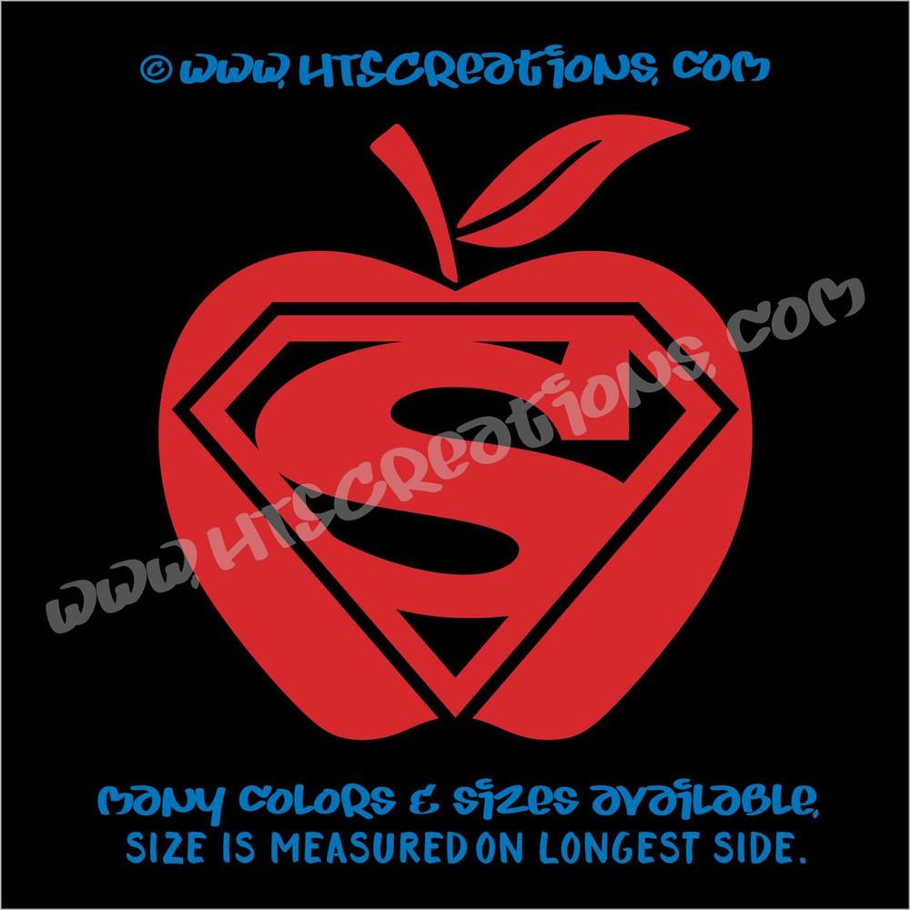 Teacher Super Hero Aide Classroom Vinyl Decal Laptop Vanity Cell Phone Car Door Mirror Truck RED