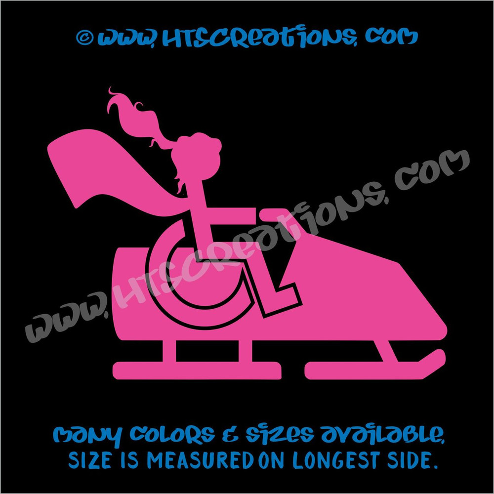 Wheelchair Snowmobile Handicap Super Hero Girl Paraplegic Vinyl Decal Truck Laptop Tablet Vinyl Decal HOT PINK