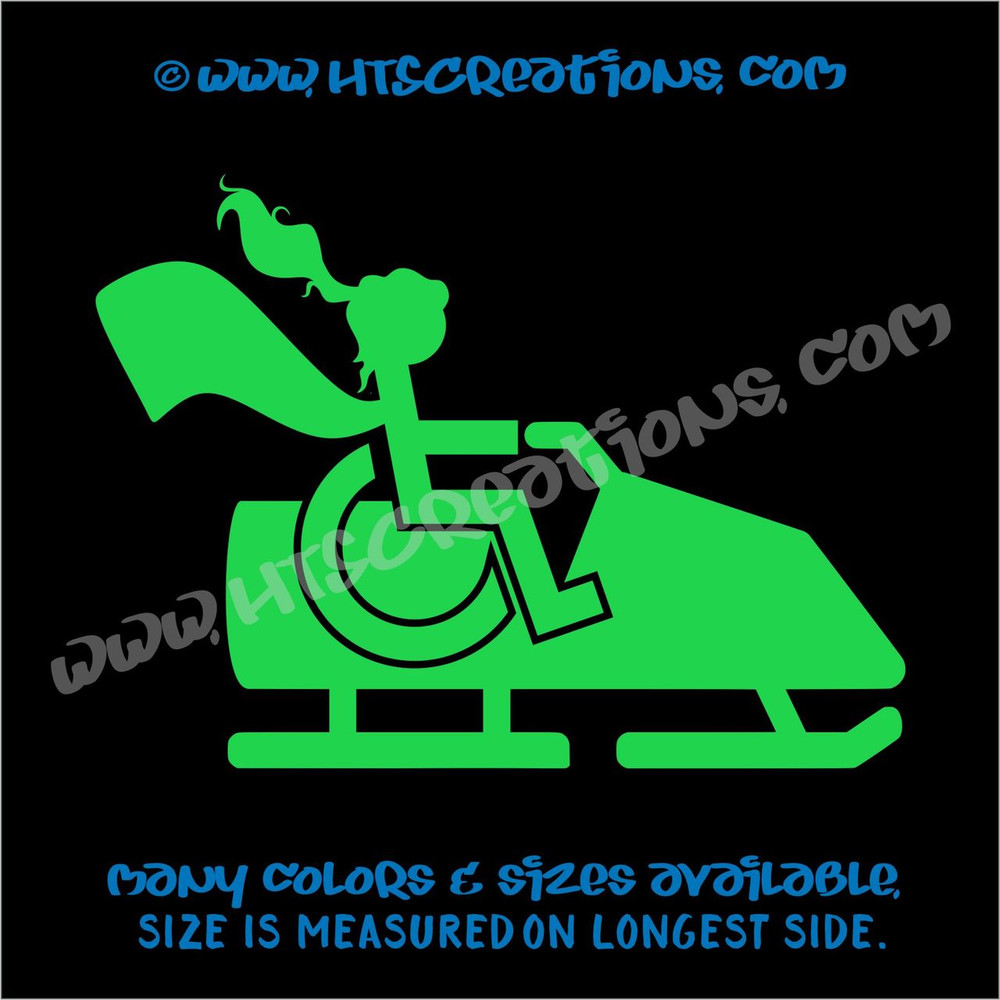 Wheelchair Snowmobile Handicap Super Hero Girl Paraplegic Vinyl Decal Truck Laptop Tablet Vinyl Decal LIME