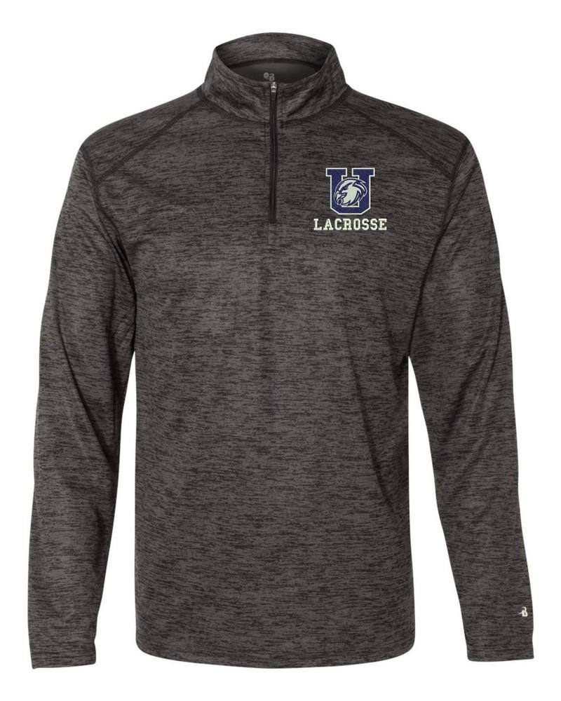 Urbana Hawks LACROSSE Performance Quarter Zip Sweatshirt Badger Tonal Blend Polyester Many Colors Available BLACK