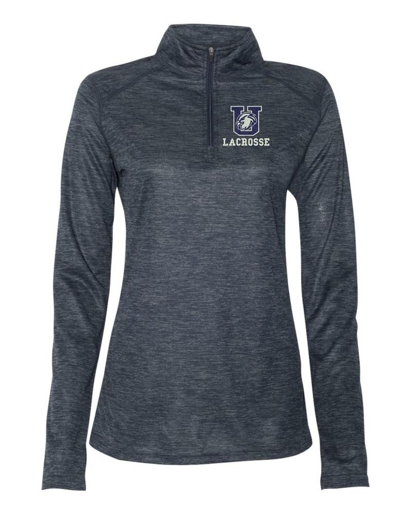 Urbana Hawks LACROSSE Performance Quarter Zip LADIES Sweatshirt Tonal Blend Badger Polyester Many Colors Available NAVY