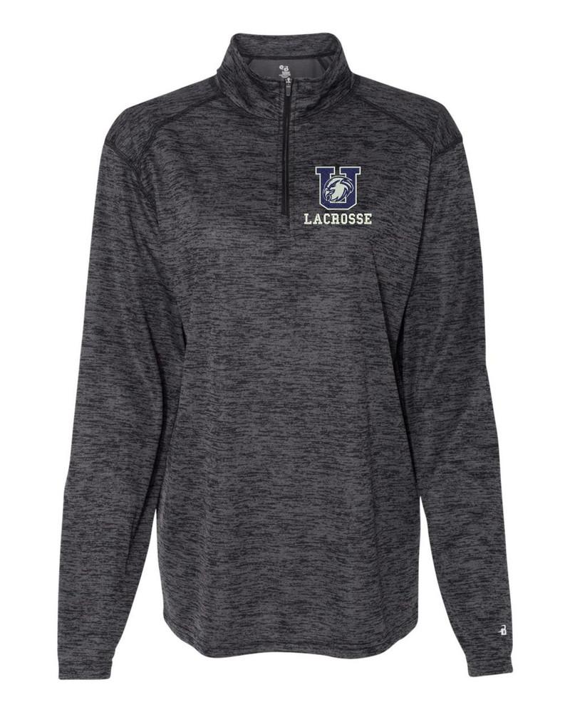 Urbana Hawks LACROSSE Performance Quarter Zip LADIES Sweatshirt Tonal Blend Badger Polyester Many Colors Available GRAPHITE BLACK