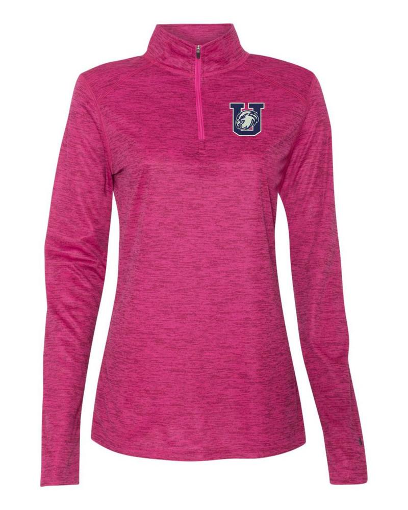 Urbana Hawks Performance Quarter Zip LADIES Sweatshirt Tonal Blend Badger Polyester Many Colors Available HOT PINK