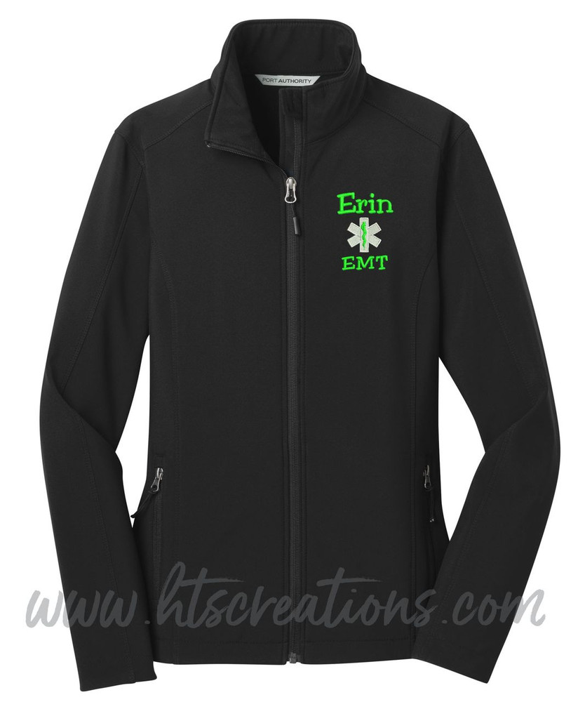 Star of Life Fire Rescue FF Paramedic Medic Softshell Jacket BLACK Font Style JESTER