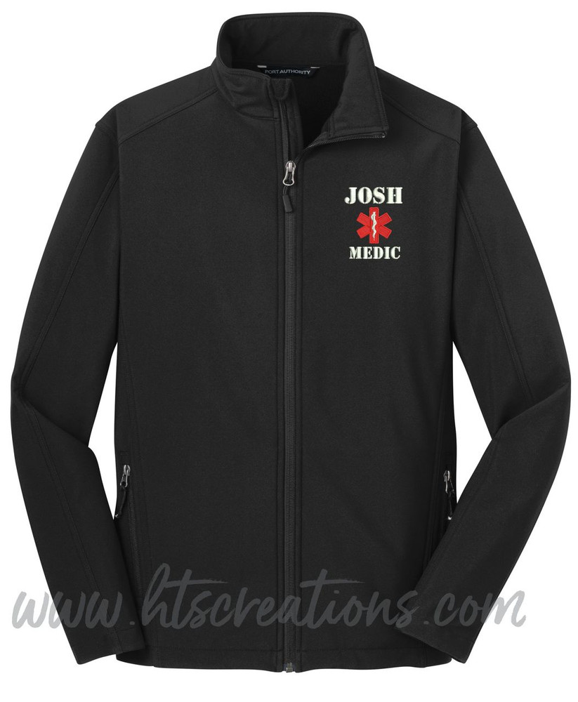 Star of Life Fire Rescue FF Paramedic Medic Softshell Jacket BLACK Font Style ARMY