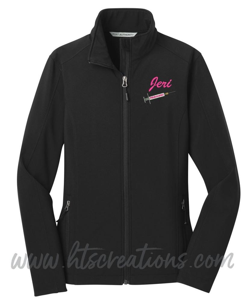 Phlebotomist Medic Softshell Jacket UNISEX MENS, WOMENS & YOUTH Sizes  BLACK Font Style ATHLETIC SCRIPT