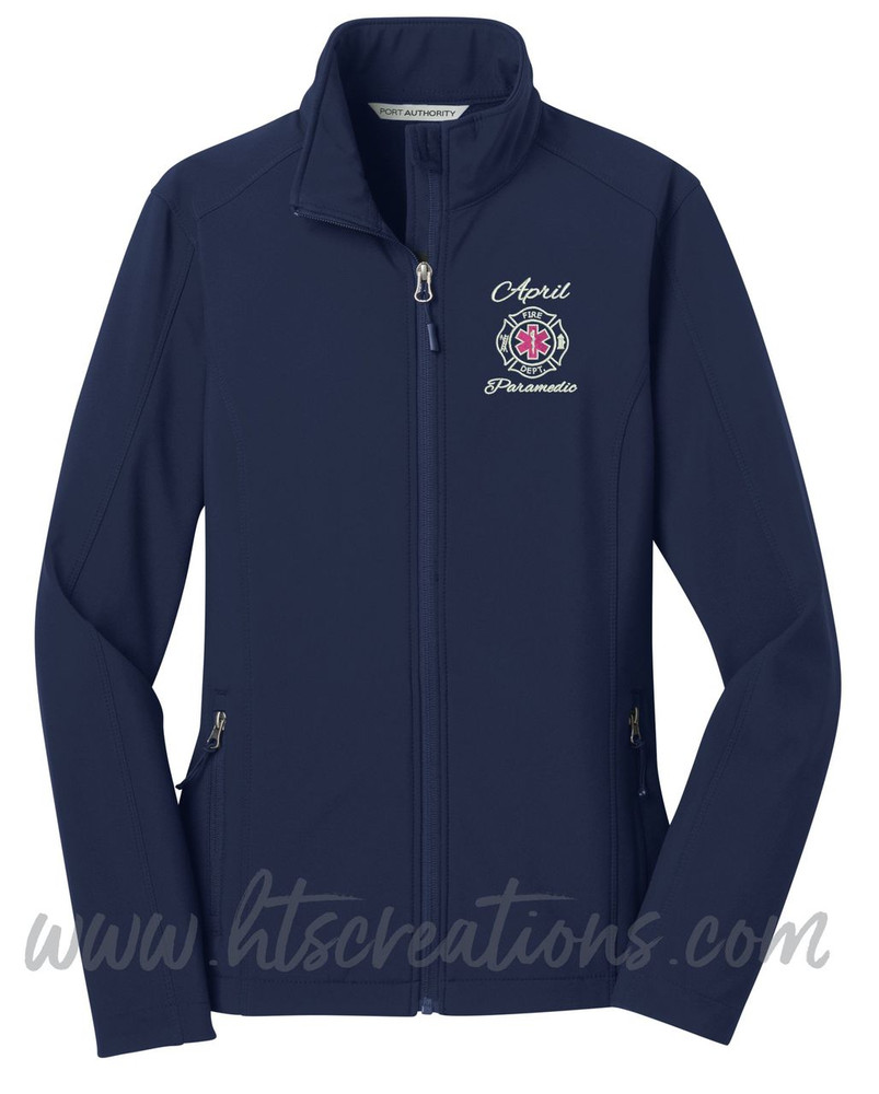 Firefighter Maltese Star of Life Fire Rescue FF Paramedic Medic Softshell Jacket DRESS BLUE NAVY Font Style ALEXIS