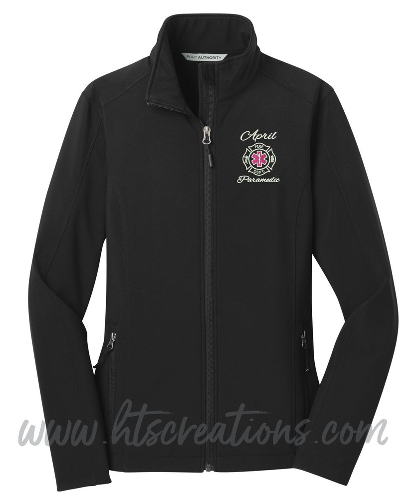 Firefighter Maltese Star of Life Fire Rescue FF Paramedic Medic Softshell Jacket BLACK Font Style ALEXIS