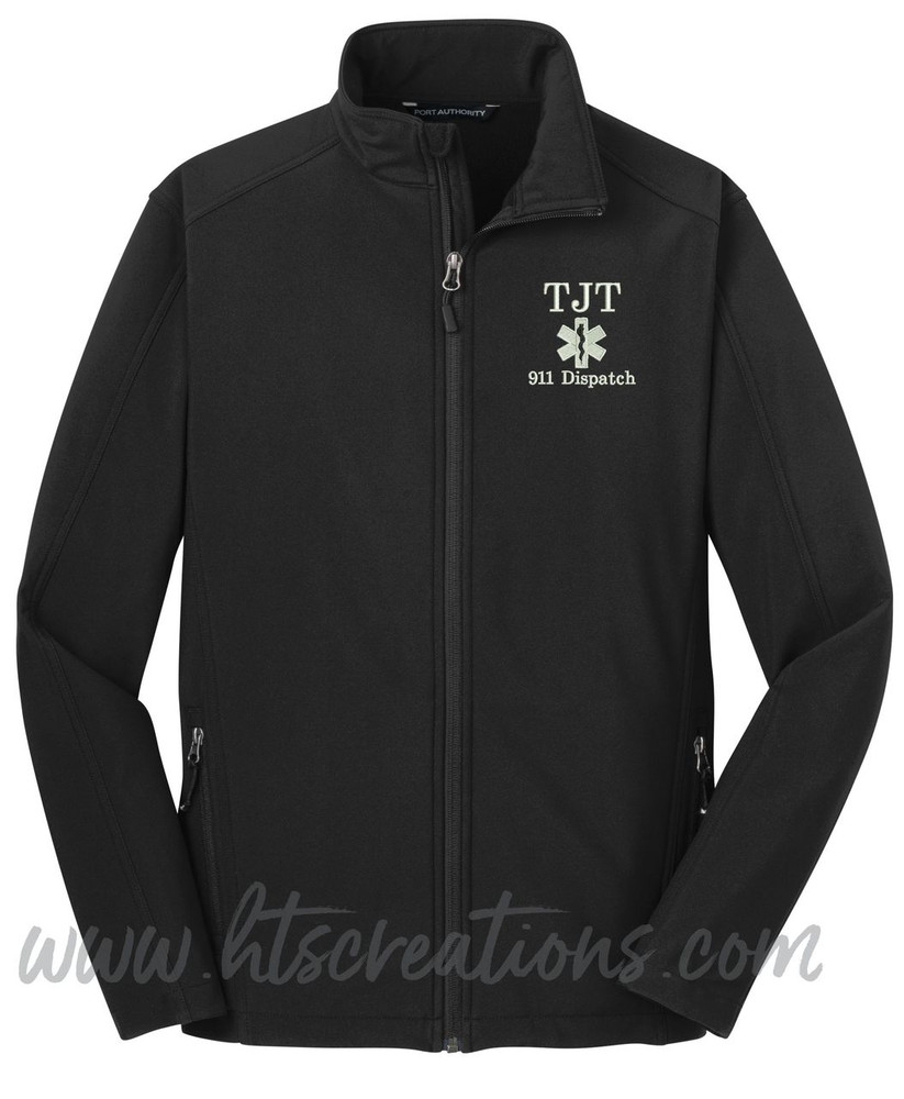 911 Dispatcher Star of Life Fire Rescue FF Paramedic Medic Softshell Jacket BLACK Font Style BODINI
