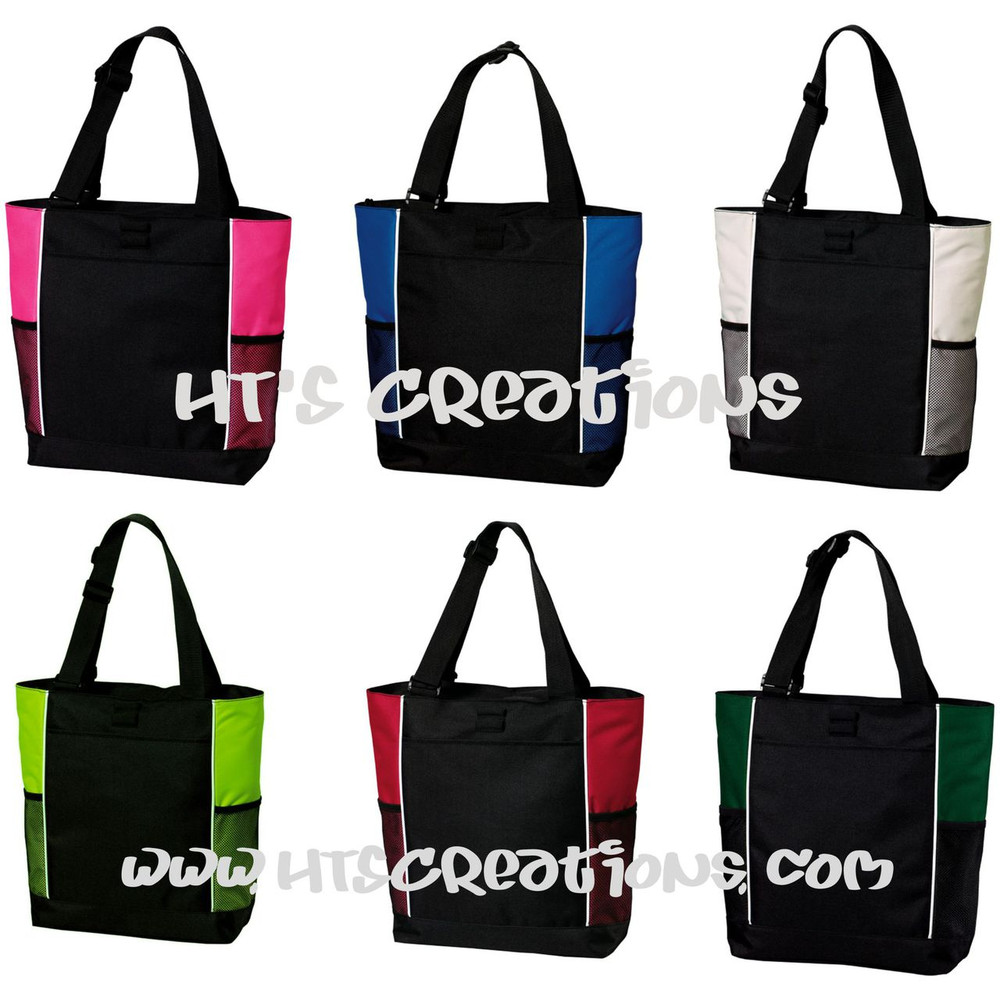HT's Creations Zippered Tote Bag Colors Hot Pink Royal Blue Stone Lime Red Hunter Green