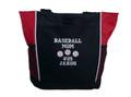 Baseball Softball Sports Team Mom Custom Personalized RED Tote Bag Font Style VARSITY