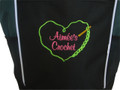 Crochet Heart Chain Stitch Hook Knitting Needlepoint Embroidery Crafts Custom Monogrammed Personalized HUNTER GREEN Tote Bag Font Style CASUAL SCRIPT