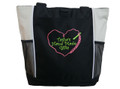 Crochet Heart Chain Stitch Hook Knitting Needlepoint Embroidery Crafts Custom Monogrammed Personalized STONE Tote Bag Font Style CURLZ