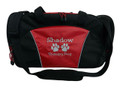 Paw Prints Vet Tech Therapy Dog Personalized Embroidered RED DUFFEL Font Style JESTER