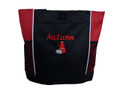 Cheer Poms Cheerleader Personalized Embroidered RED Zippered Tote Bag Font Style CURSIVE