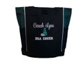 Cheer Poms Cheerleader Personalized Embroidered HUNTER GREEN Zippered Tote Bag Font Style SWEETHEART and VARSITY