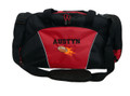 Football Flames Coach Mom Team Personalized Embroidered RED DUFFEL Font Style VARSITY