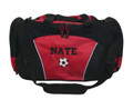 Soccer Ball Coach Mom Team Personalized Embroidered RED DUFFEL Font Style VARSITY