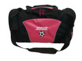 Soccer Ball Coach Mom Team Personalized Embroidered TROPICAL HOT PINK DUFFEL Font Style VARSITY