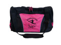 Gymnast Silhouette Leaping Gymnastics Dance Sports Personalized Embroidered HOT PINK DUFFEL Font Style SAMANTHA