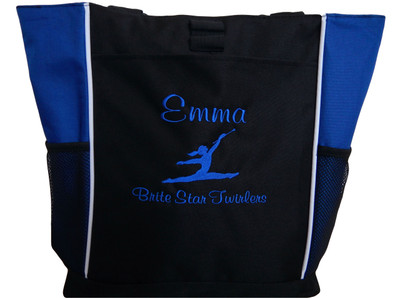 Twirler Gymnastics Cheer Personalized Embroidered Zippered Tote Bag Royal Blue Font Casual Script