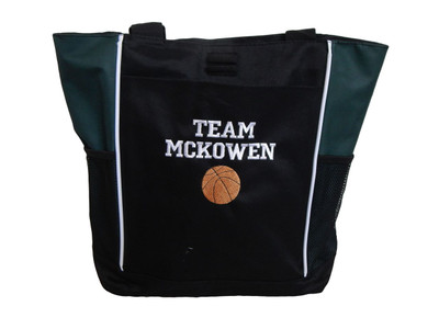 Basketball Sports Coach Team Mom Custom Personalized HUNTER GREEN Tote Bag Font Style VARSITY
